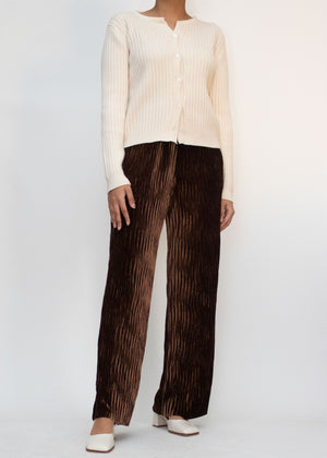 Wave Textured Velvet Pants in Brown