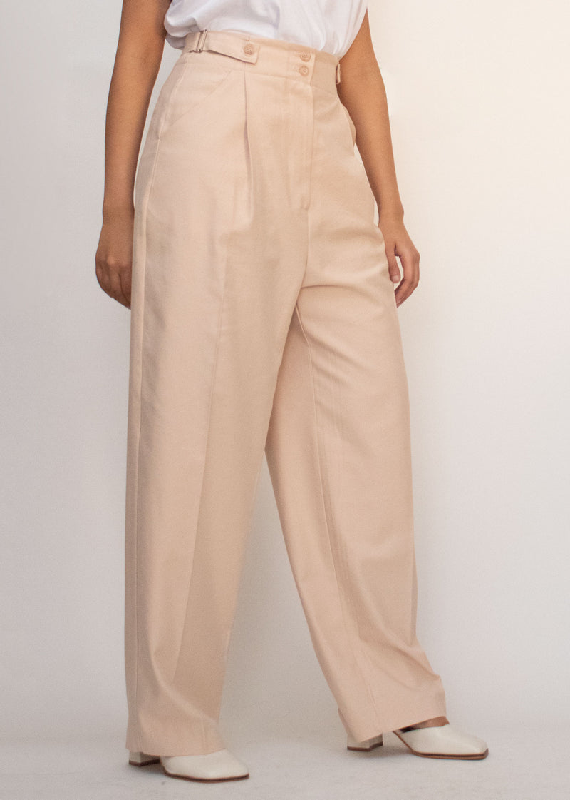 Pastel Pink High Waisted Pleat Front Pants