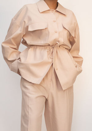Cotton Drawstring Shirt Jacket in Pastel Pink