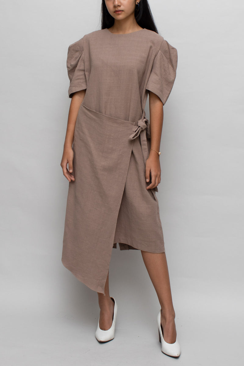 Brown Asymmetrical Wrap Dress