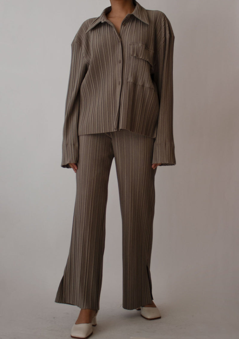 Pleated Shirt and Pants Set in Taupe