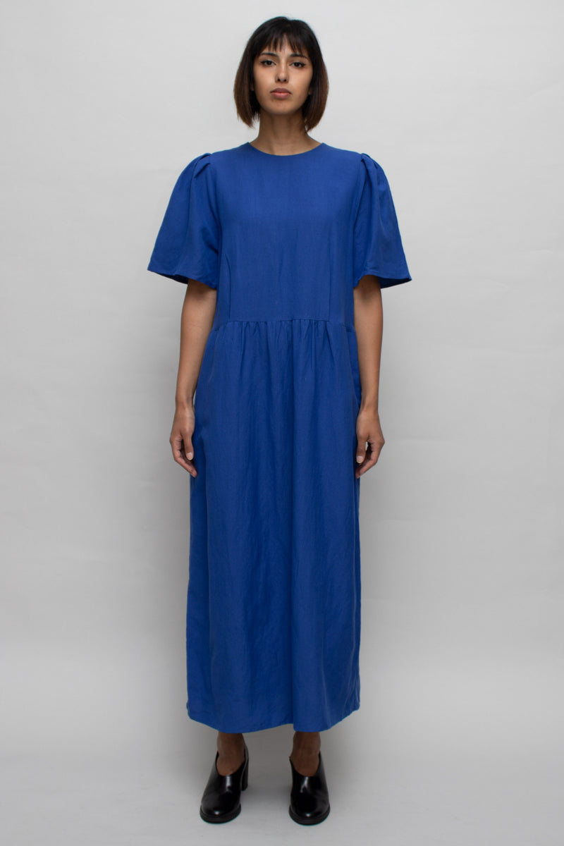 Royal Blue Short Sleeves Maxi Dress