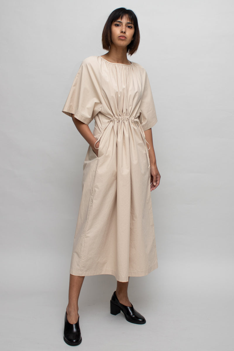 Beige Ruched Midi Dress