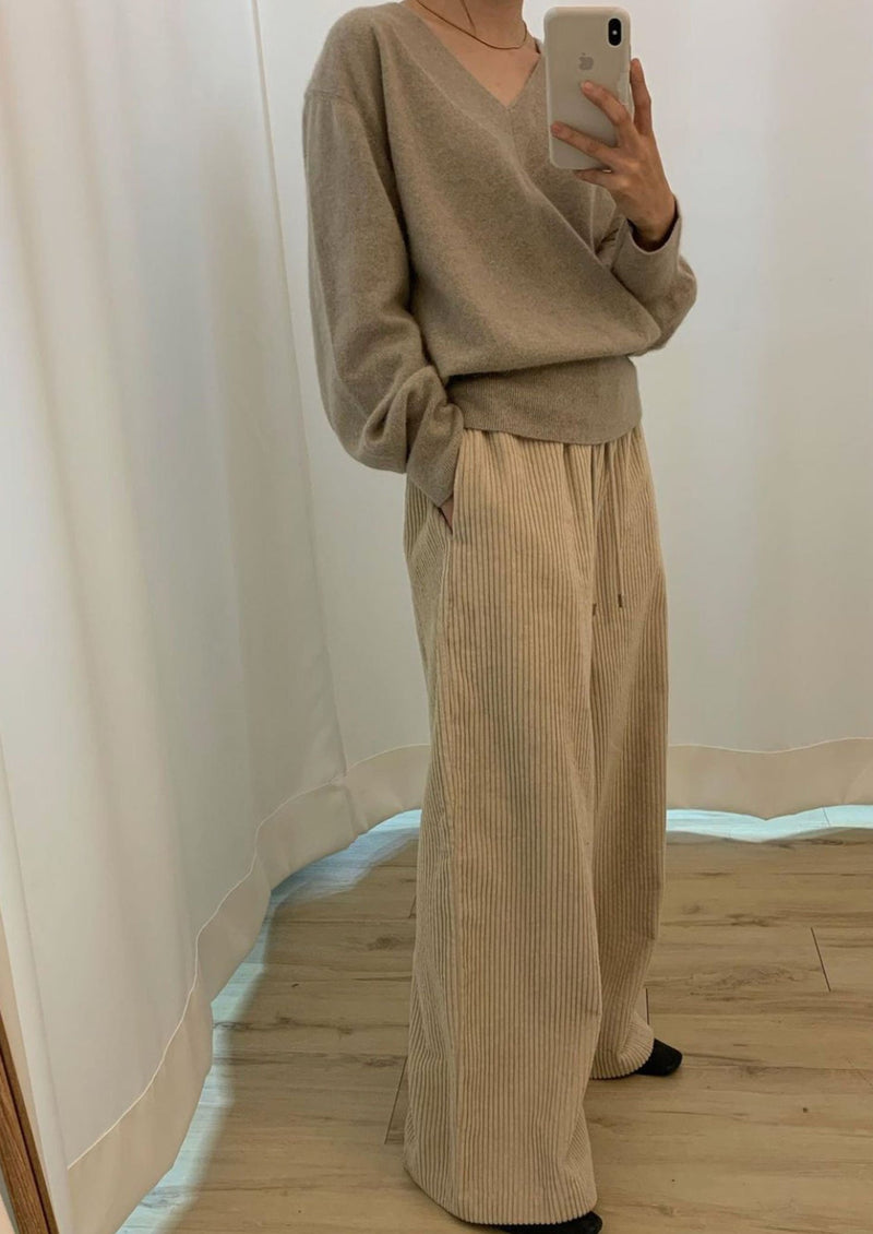 Corduroy Drawstring Sweatpants in Beige