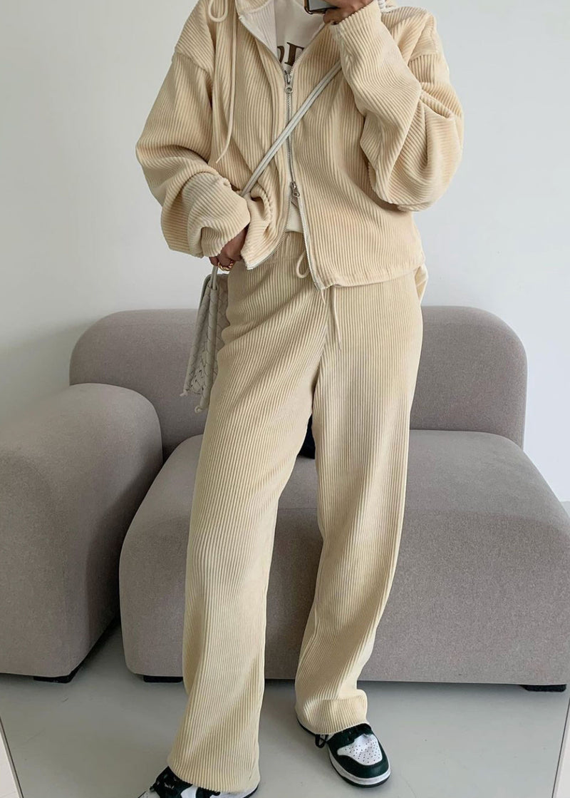 Corduroy Drawstring Sweatpants in Cream