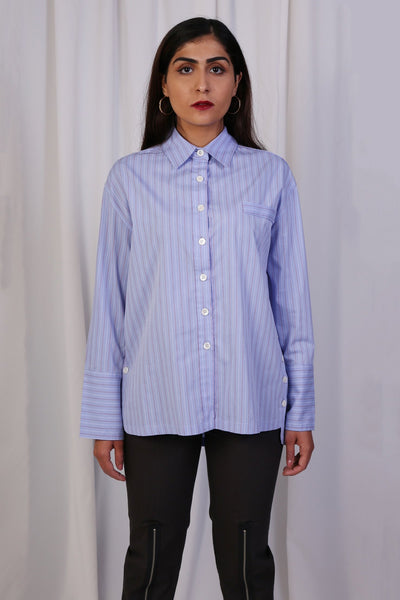 Blue Striped Buttoned Top