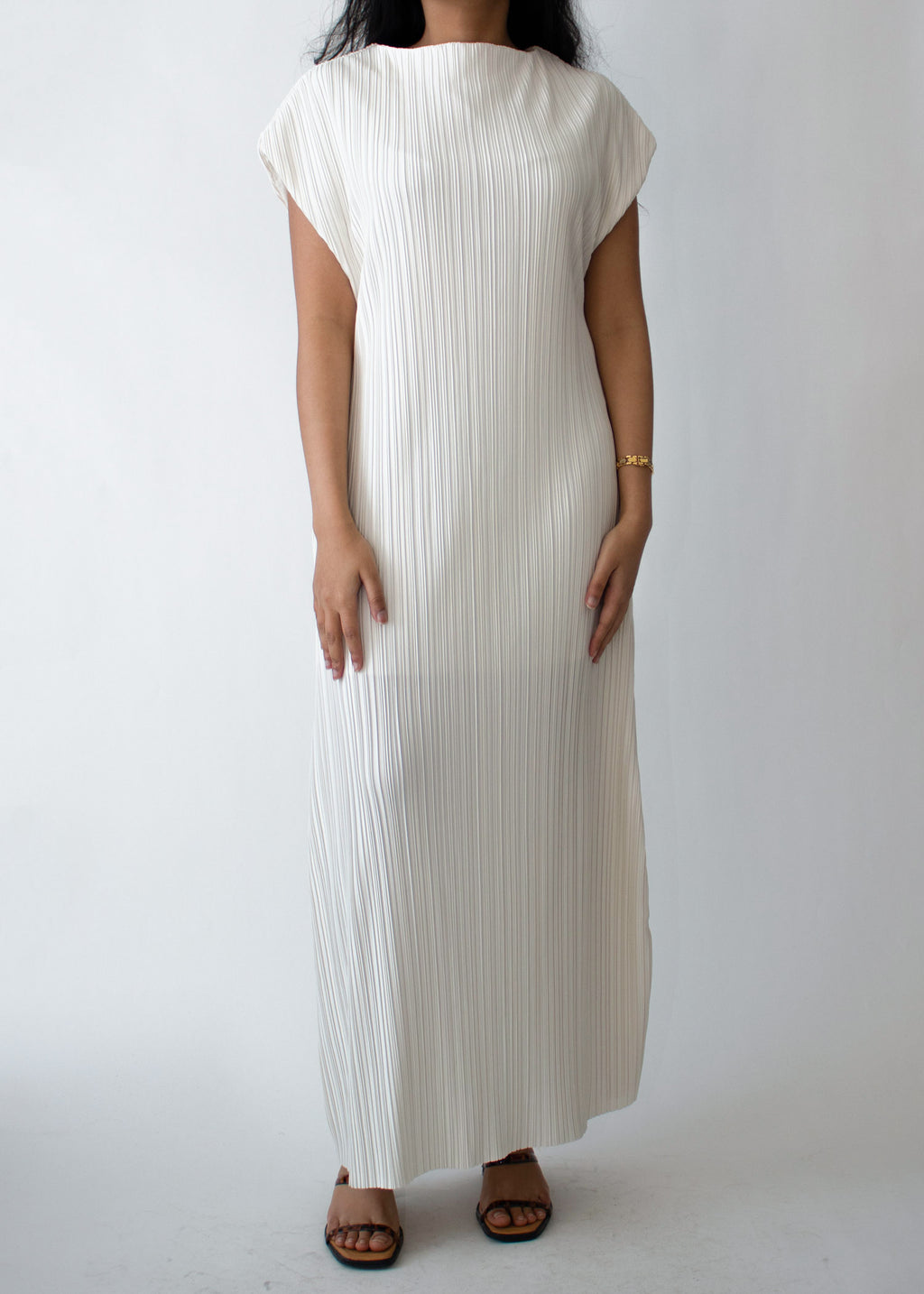Pleated Long Dress in Ivory