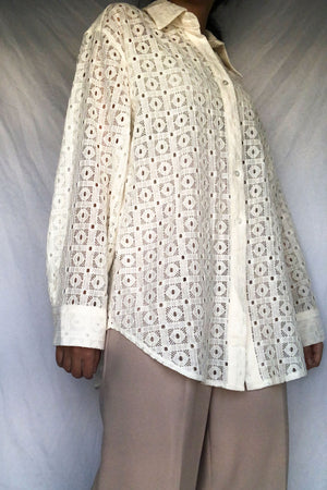 Cream Lace Cut Out Blouse