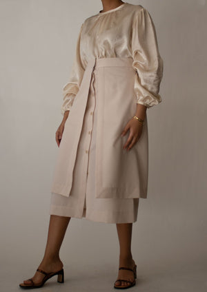 Button Down Layered Midi Skirt in Beige