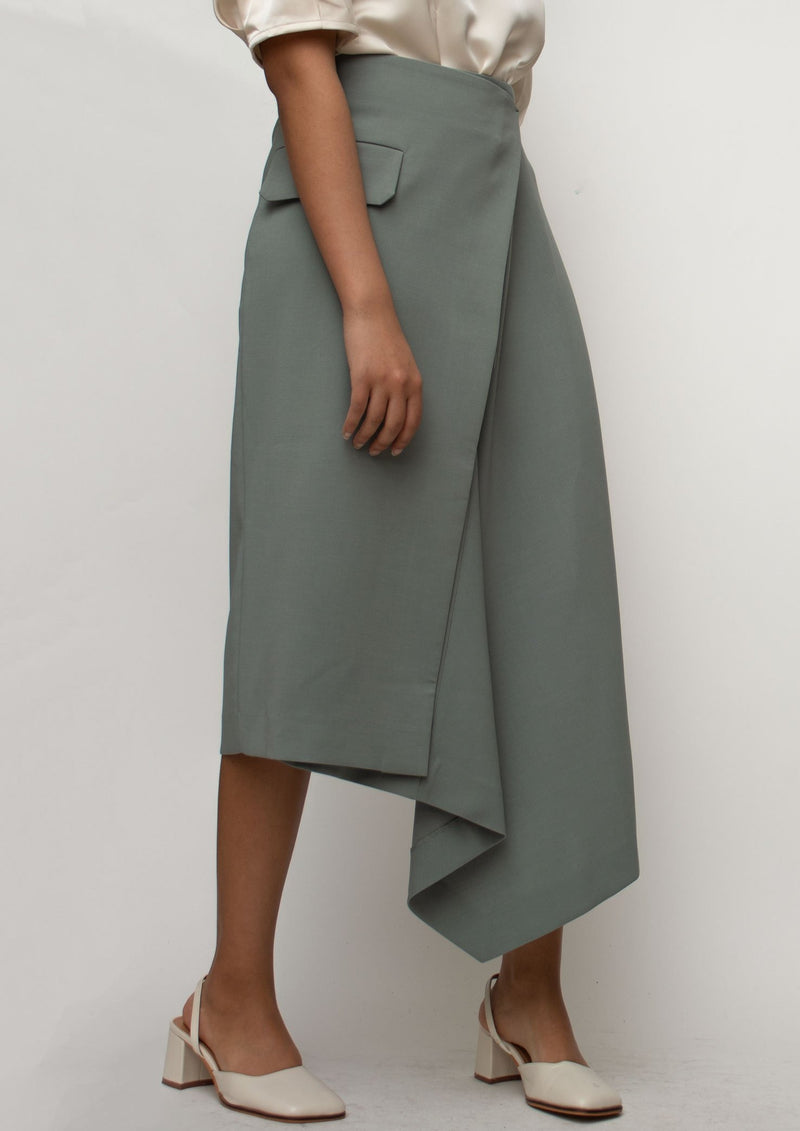 Asymmetrical Length Midi Skirt in Sage