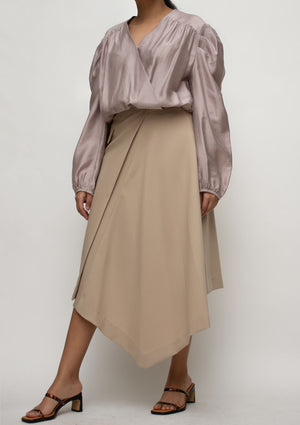 Asymmetrical Length Midi Skirt in Beige