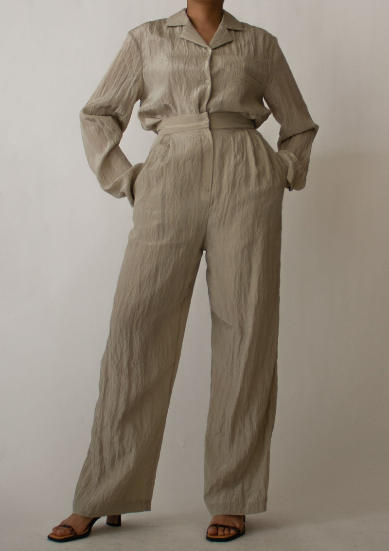Olive Green Wrinkle Texture High Waist Pants