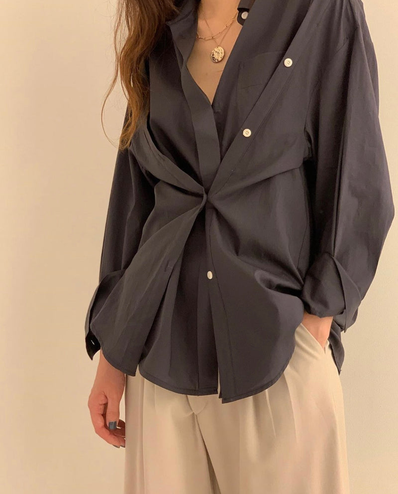 Charcoal Grey Double Buttoned Shirt