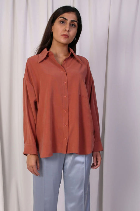 WANTS Coral Button Down Top