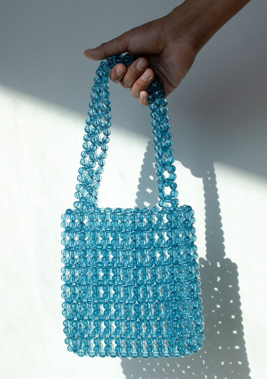 Blue Beaded Hand Bag