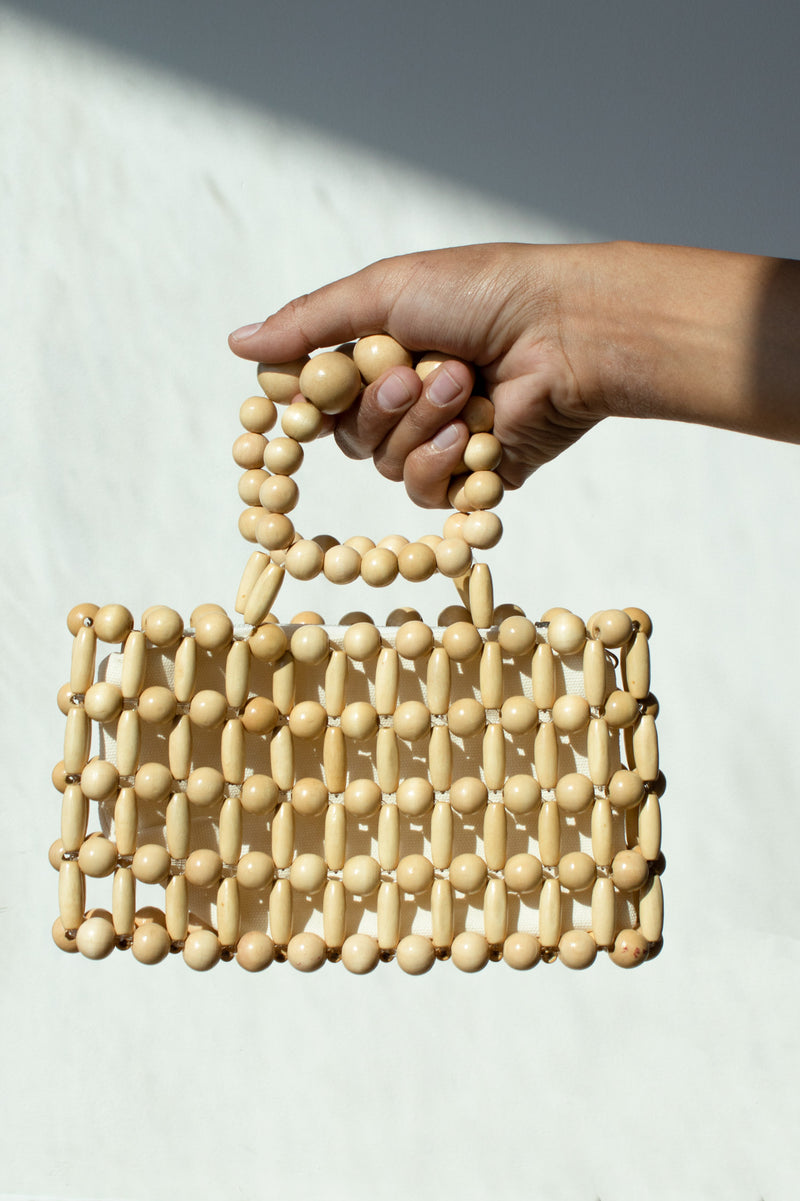 Wooded Mini Beaded Bag