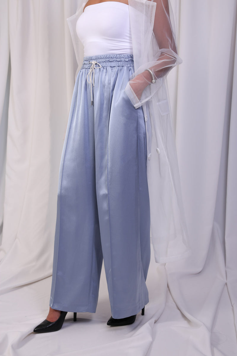 WANTS Soft Blue Silk Track Pants