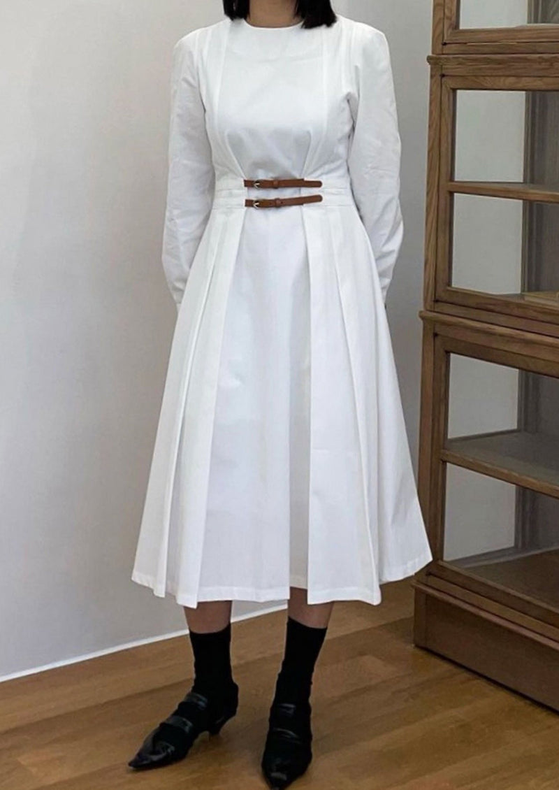 White Cotton Double Belted Midi Dress