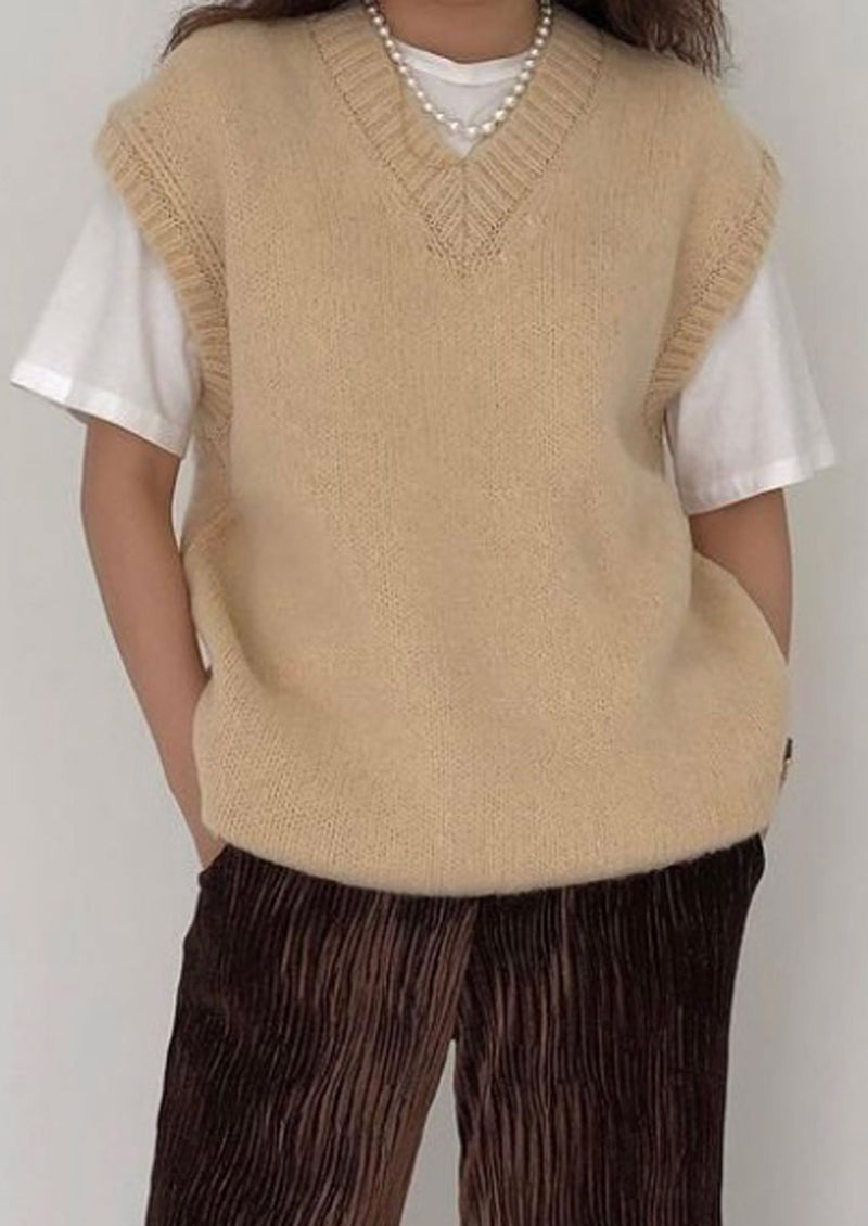 Oversized Fuzzy Wool Vest in Beige