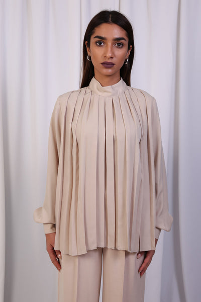 High Neck Pleats Top