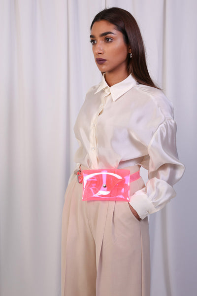Clear Pink Pocket Belt