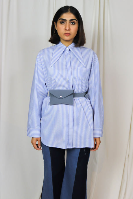 WANTS Blue Striped Exaggerated Collar Top