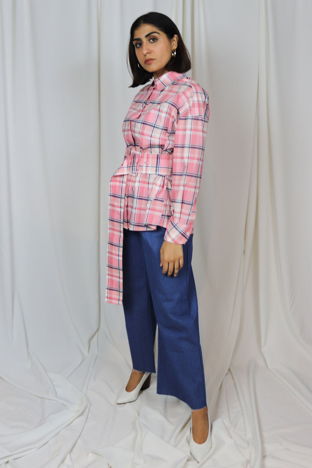 WANTS - Pink Check Belted Top