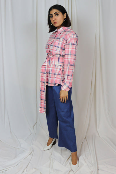 Pink Check Belted Top