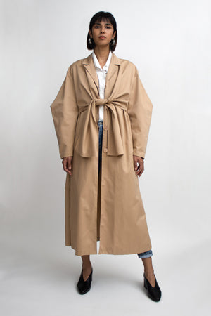 Beige Tied Long Trench Coat