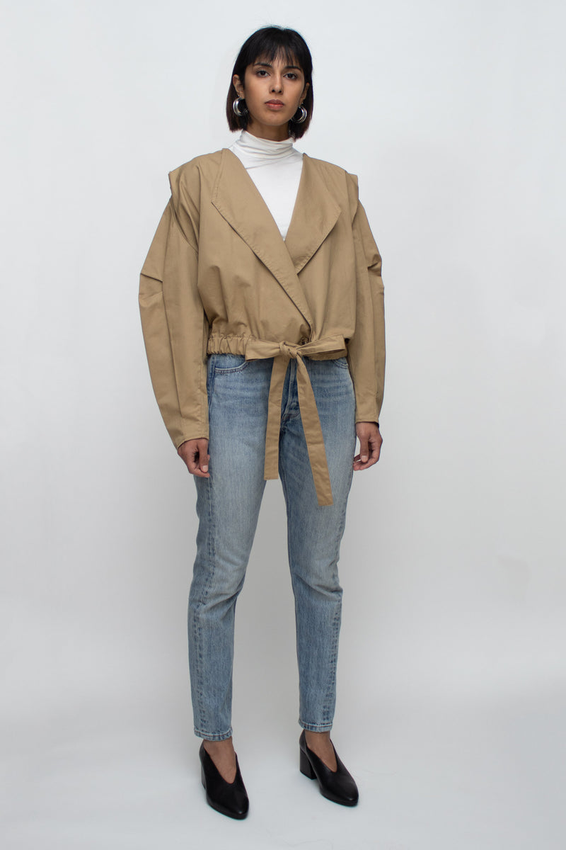 Beige Short Puffed Sleeves  Jacket