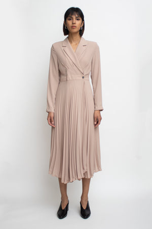Beige Asymmetrical Pleats Dress