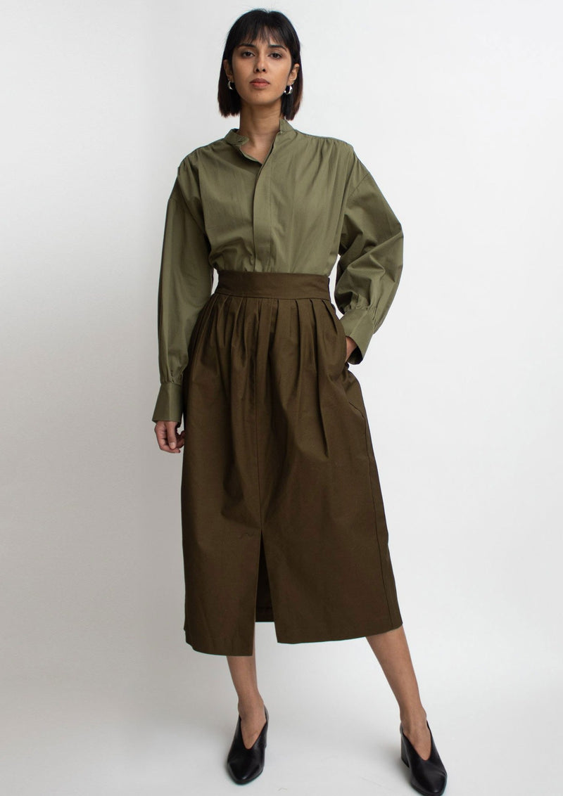 Olive Cotton Slit Midi Skirt