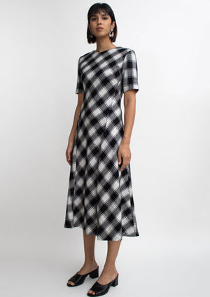 Gingham Check Wool Dress