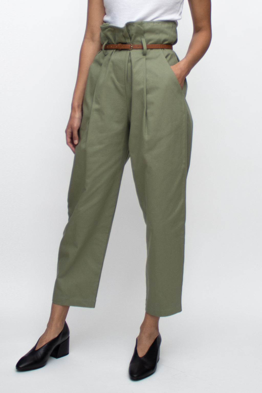Olive High Waisted Pants  with Brown Belt