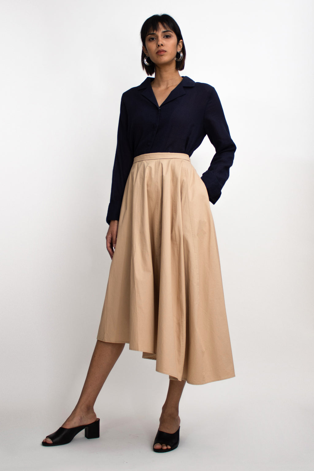 Beige Cotton Asymmetrical Midi Skirt