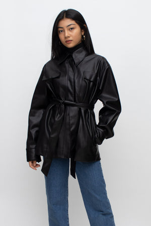 Black Belted Faux Leather Jacket