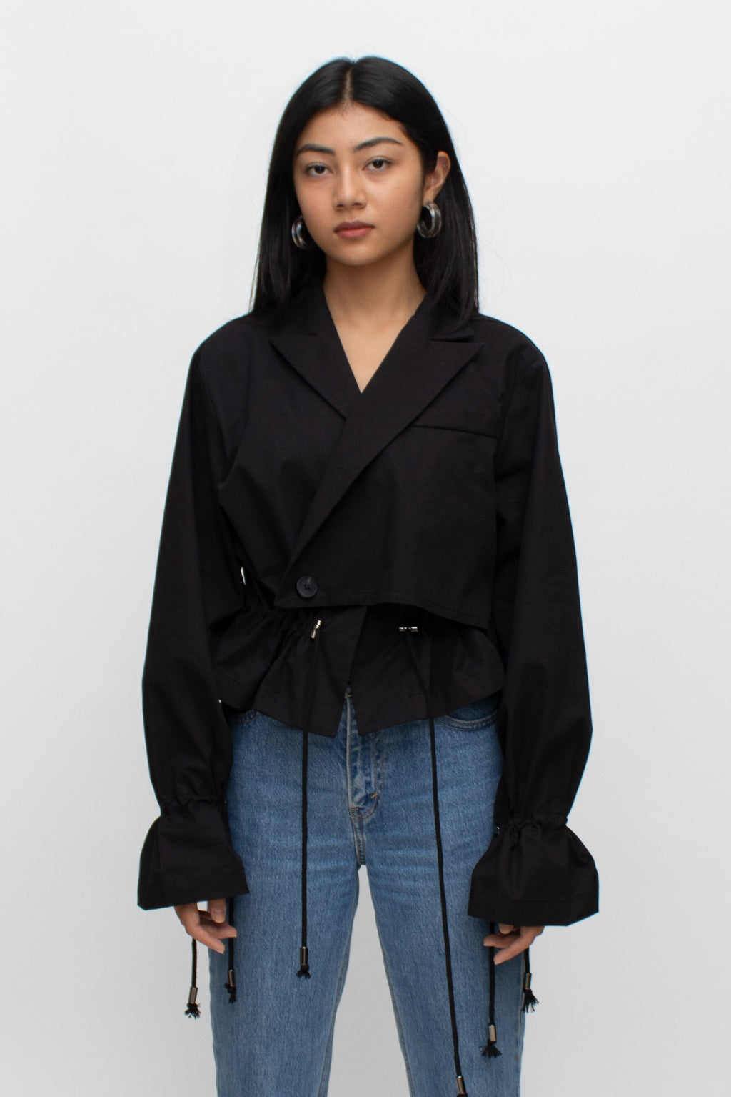Black Cotton Short Trench Jacket
