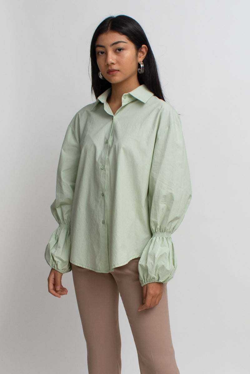 Pastel Green Puff Sleeves Shirt