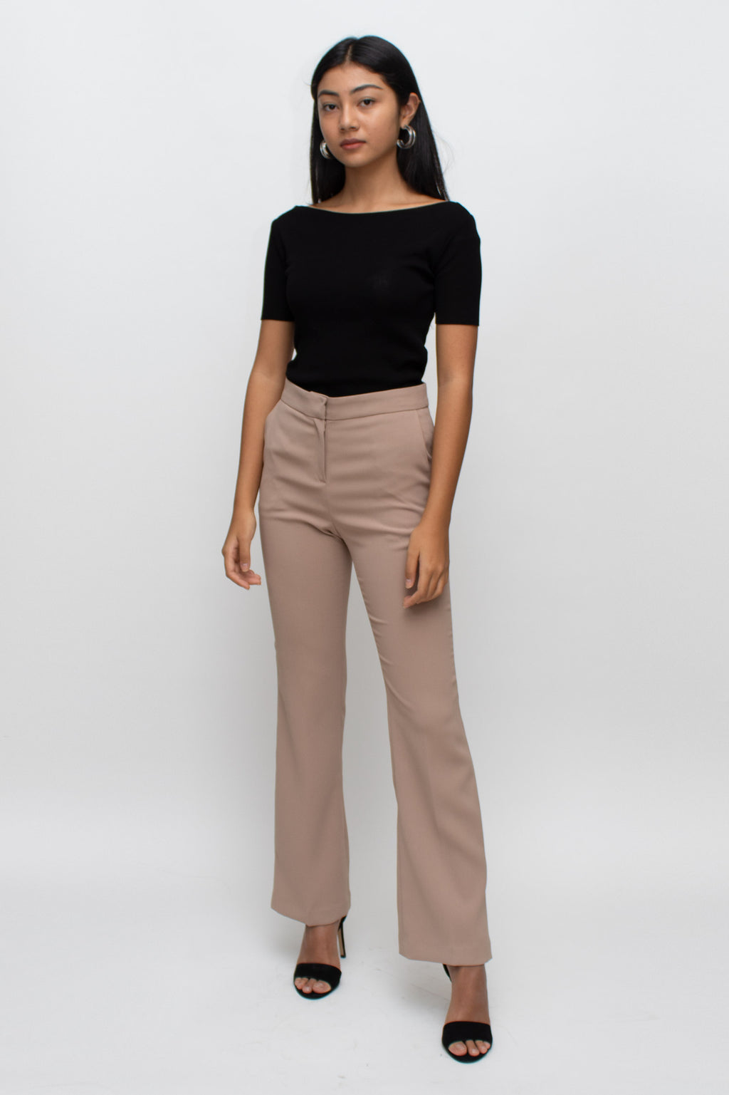 Beige Bootcut Fitted Pants