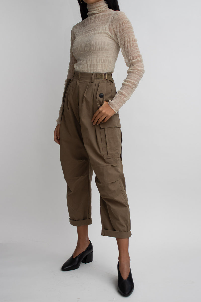 Dark Khaki Cropped Cargo Pants