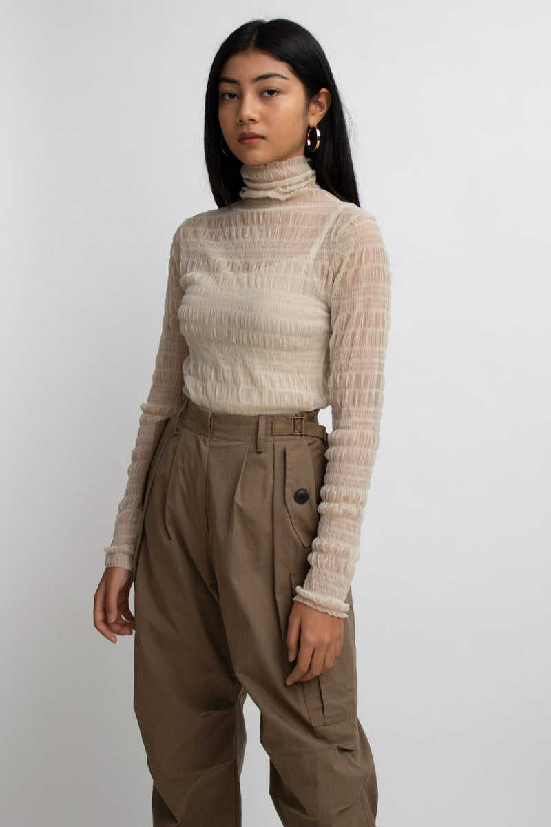 Ruched Sheer Turtleneck Top