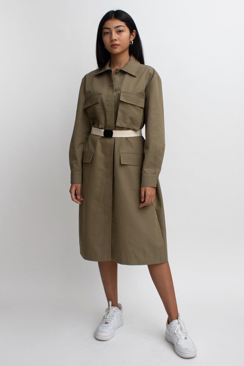 Olive Cargo Belted Dress