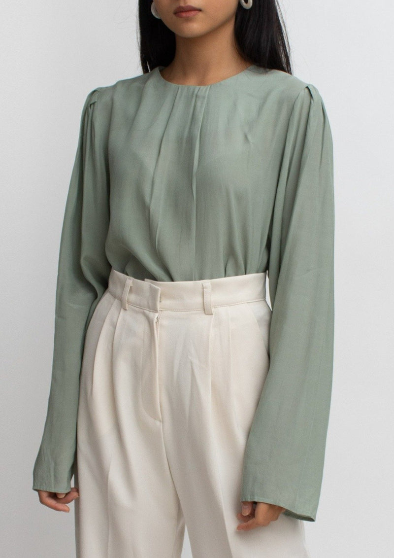 Sage Green Long Sleeves Blouse