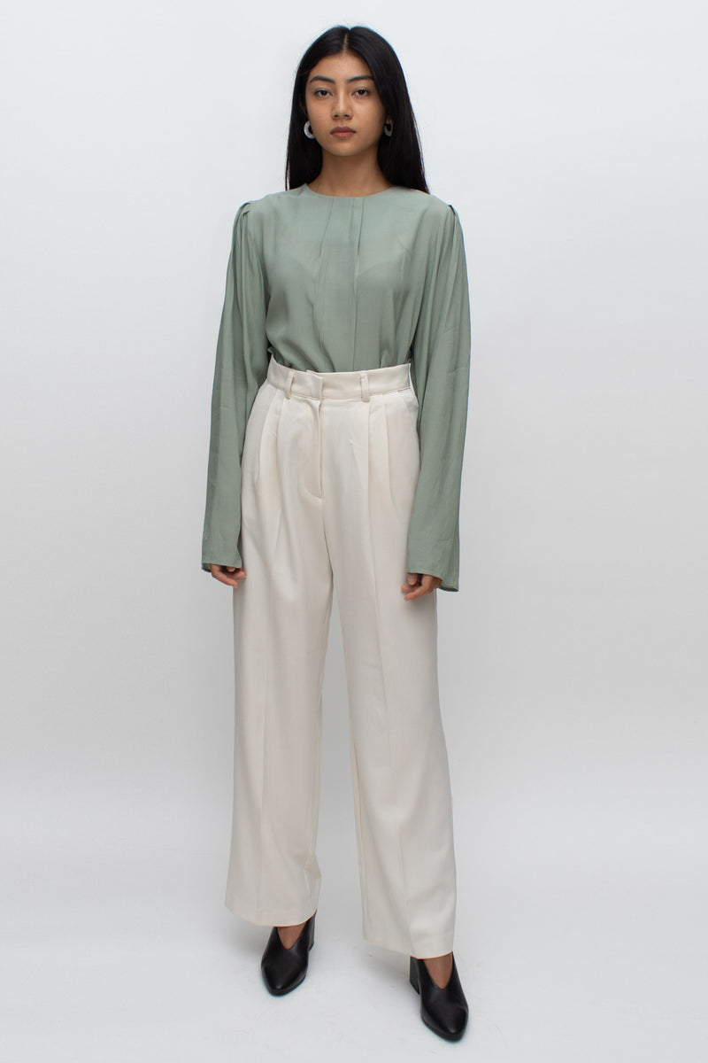 Cream High Waisted Wide Cut Pants