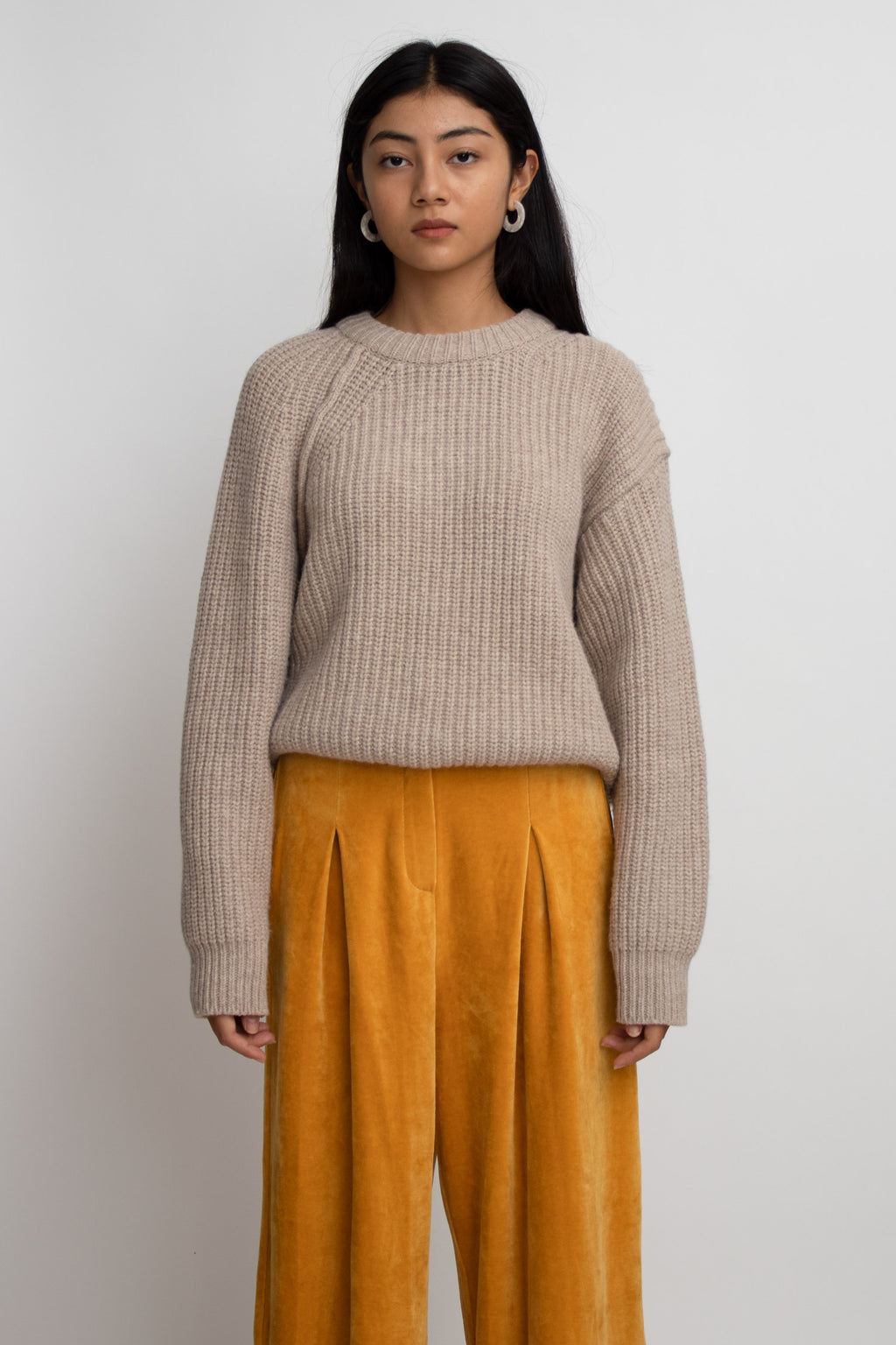 Sand Round Neck Knit Sweater
