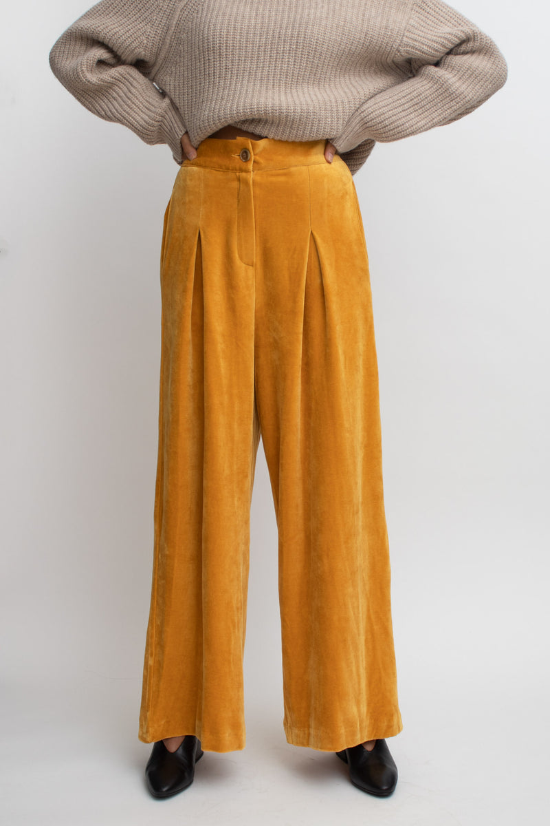 Orange Velvet High Waisted Pants