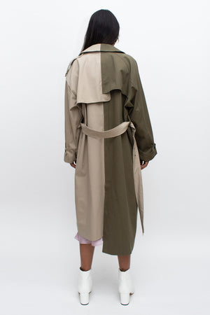 Olive and Beige Asymmetrical Trench Coat