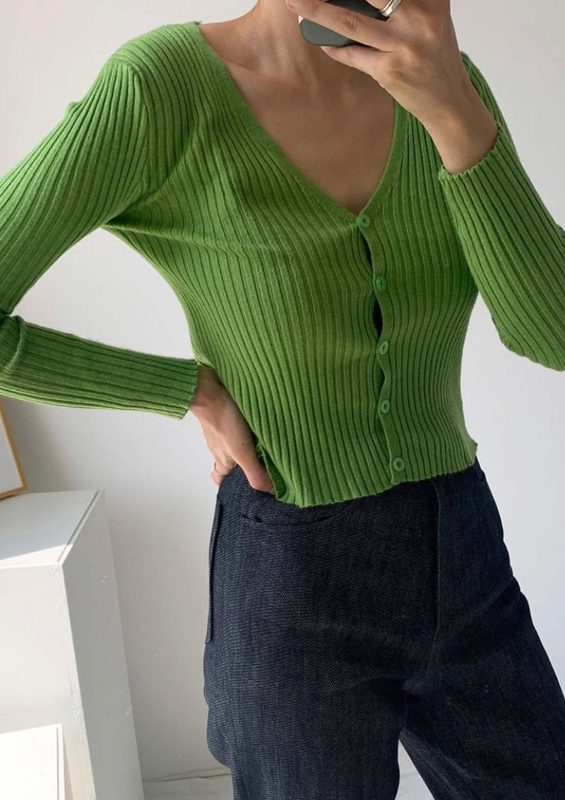 Green Cropped Knit Cardigan