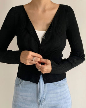 Black Ribbed Cardigan