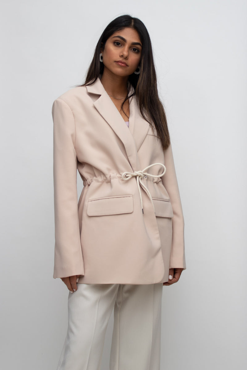 Light Pink Oversized String Tied Blazer